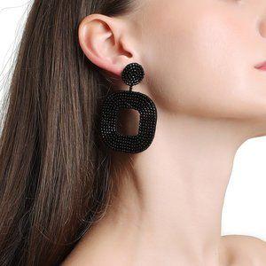 New! Anthro Black Beaded Drop Earrings